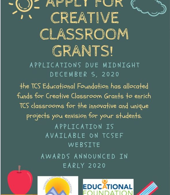 Creative Classroom Grants for 2021-2022 are live!